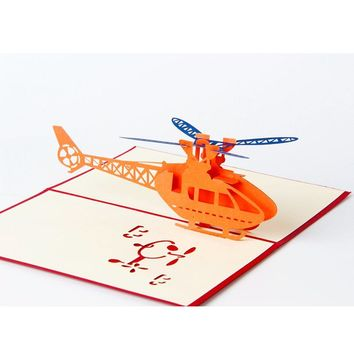 1pcs Helicopter 3D Paper Laser Cut Pop Up Anime Vintage Birthday Greeting Cards Gifts Wishes Postcards Crafts with Envelope Gift