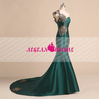 RE280 Lace Evening dress with Zipper Dark Green wedding party dress Long Mermaid Party Prom Gown Mikado Birthday One Shoulder Evening Dress