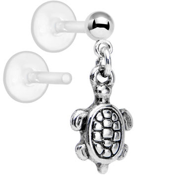 "Handcrafted Bioplast Tiny Turtle Dangle Cartilage Earring 1/4"" 5/16"""