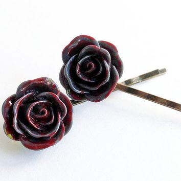 Hair Pin, Bloody Flower, Goth Style, Halloween Accessory, Hair Clip, Dark Grey, Zombie Hair Piece, Dead Flower, Bobby Pin