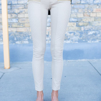 The Perfect Faux Leather Zipper Pants Beige