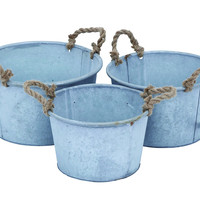 Metal Planter In Antique Finish - Set Of 3