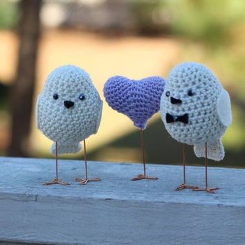 Engagement party cake topper,  Birds set, Cake Topper love birds, Wedding birds, Set of bride and Groom and a small crocheted heart