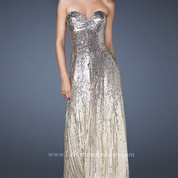 Long Sequin and Chiffon Strapless Dress