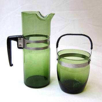 Vintage retro mid century modern green glass cocktail pitcher and ice bucket