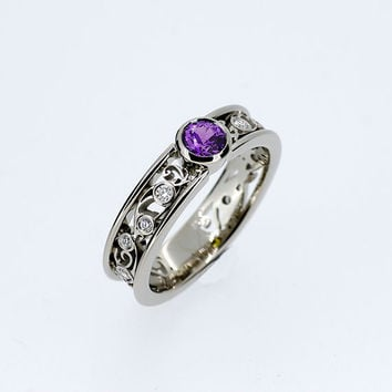 Amethyst and diamond filigree ring, bezel engagement ring, custom, white gold, purple wedding ring,  amethyst solitaire, rose gold, band