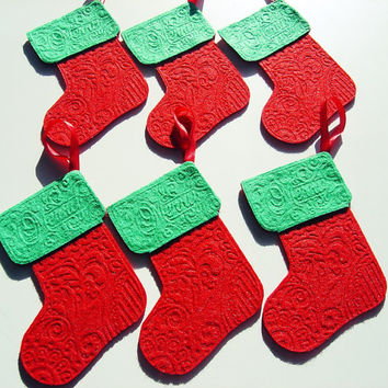 6 Piece Thick Felt Christmas Stocking Ornaments