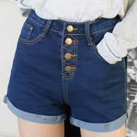 Single-Breasted Rolled Hem Denim Short