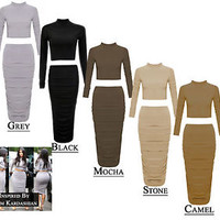 Women Kardashian Celebrity Inspired Two Piece Suit Crop Top Skirt Polo Neck Suit