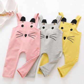 Toddler Children Boys Girls Cartoon Cat Overall Playsuits Pants Outfits Clothes