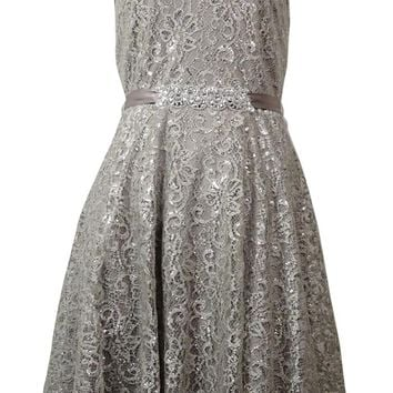Betsy & Adam Women's Illusion V-Back Belted Metallic Lace Dress
