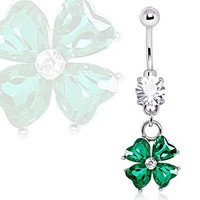 316L Surgical Steel Navel Ring with Four Leaf Clover Dangle