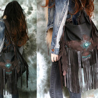 Dark brown fringe leather hobo bag thunderbird tribal people eagle bird aztec navajo  southwestern free indians boho festival sweetsmokebags