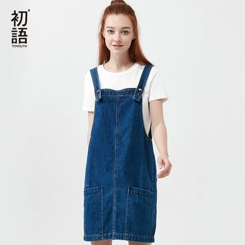 Toyouth Fashion Double Pockets Overall Jeans Dress Solid Short Suspender Denim Sundress Sleeveless Strap Cowboy Dresses Womens