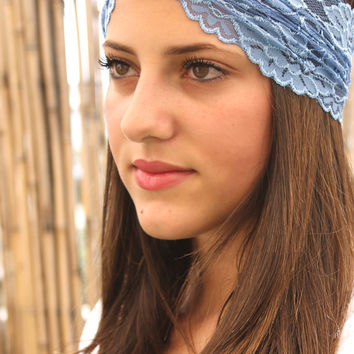 Blue and Olive green Headband, wide headband,  Women Hair Accessories, Turban Head Wrap, Boho chic, Elastic Headband, blue Headband
