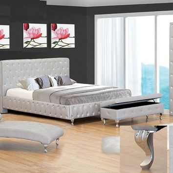 Ashton silver finish leather like vinyl tufted queen bed frame set with crystal button tufting