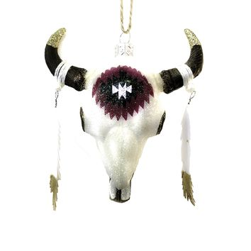 Longhorn Feather Skull Ornament