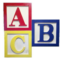"""Wooden Block ABC Picture GREAT for Kids Room Painted 28""""x28"""""""