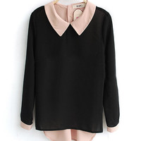 Black Long Sleeve Contrast Collar and Button Back Blouse - Sheinside.com