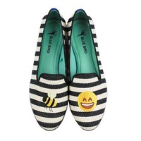 Bee Happy Loafer in Black and White by Blue Bird Shoes - FINAL SALE