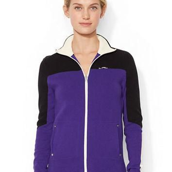 Lauren Ralph Lauren Full Zip Color Blocked Sweater