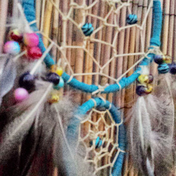 "Handmade 5"" Double Dream Catcher, Legend of the Dreamcatcher, Native American Indian Wall Hanging Decor, Feathers, Housewarming Gift"