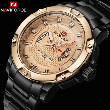 2018 New NAVIFORCE Mens Watches Top Brand Luxury Fashion Casual Men Quartz Watch Stainless Steel Waterproof Gold Wristwatch
