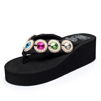 Women 5.5 Cm High Heel Beads Flip Flop Casual Slippers