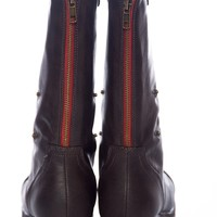 Style Unfolds Red Zipper Fold Down Combat Boots - Brown from Bamboo Shoes at Lucky 21