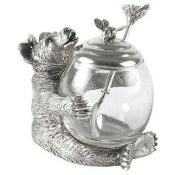 Pewter Bear Honey Pot