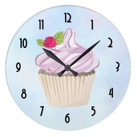 Delicious Pink Cupcake Berry on Top Large Clock