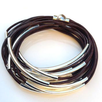 NEW ITEM Womens Leather Wrap Bangle Bracelet Brown, Beaded Double Wrap w/Magnetic Clasp,  Silver Metal Tubes