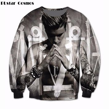 PLstar CosmosWomen Men Justin Bieber Hoodie 3D Sublimation print fleece Sweatshirt Crewneck Fashion Clothing Sweats Jumper