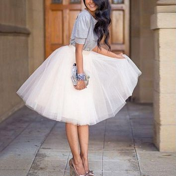 Women Girl White Chiffon Tulle Puff Skirt Faldas High Waist Midi Knee Length Female Tutu Skirts