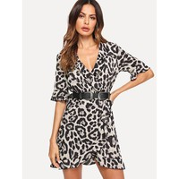Grey V-Neck Ruffle Trim Surplice Wrap Leopard Print Dress