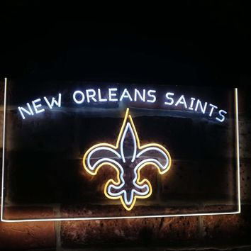 New Orleans Saints Football Bar Decor Dual Color Led Neon Sign st6-b2050