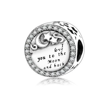 I Love You To The Moon And Back Charm Beads Pendant Fit Original Pandora Charm Bracelet 925 Silver Jewelry Valentine's Day Gift