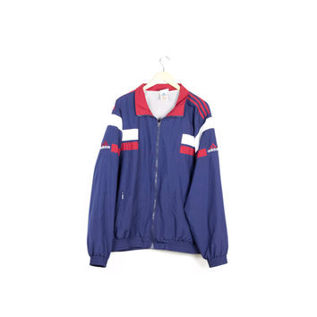90s ADIDAS windbreaker / vintage 1990s jacket / millenium / red white and blue / basic athletic / retro / usa / minimal logo / mens L - XL