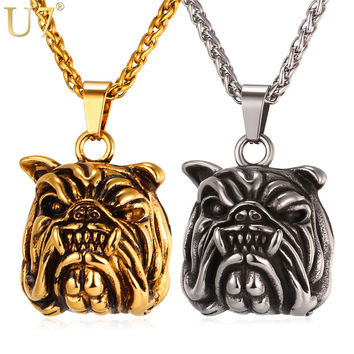 U7 Brand American Pit Bull Terrier Dog Necklace & Pendant Men/Women Gold Color Stainless Steel 2017 Hot Fashion Jewelry P1024