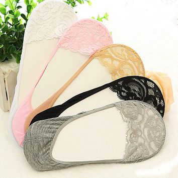 1 Pair Popular Sale Girls Women Cotton Lace Antiskid Invisible Liner No Show Peds Low Cut Socks chaussette femme