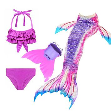 Kid's Mermaid Tail For Swimming Cosplay Costume Girls Little Mermaid Tail Swimsuit And Bathing Suit And Monofin Set