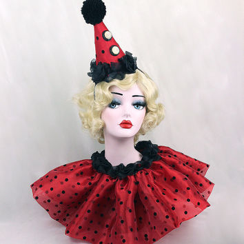 Red Clown Hat, Clown Collar, Circus Costume, Carnival Costume, Clown Costume, Clown Hat, Burlesque Costume, Birthday Hat, Glam Clown