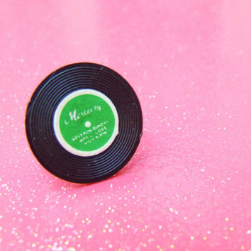 Black Green Record Album Adjustable Ring - Vintage Miniature Record - Plastic Kitsch Jewelry - Silver Plated Adjustable Ring
