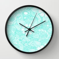 Henna Design - Aqua Wall Clock by haleyivers | Society6