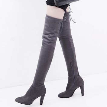 Hot Deal On Sale Slim High Heel Pointed Toe Matte Plus Size Boots [11203296647]