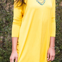 Heaven's Bliss Yellow Quarter Sleeve Solid Dress