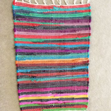 "Handwoven Small Rag Rug, Chindi Style, Boho Chic Hippie Rugs, Colorful Cotton Bath Mat, Kitchen Area Rug, Woven Loom Rug  32""x18"""