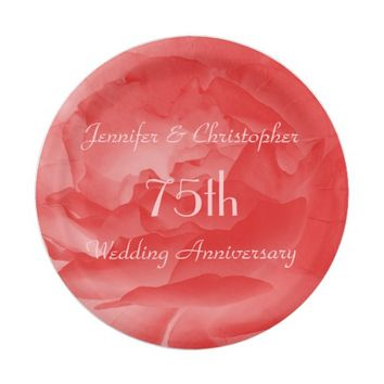 Chic Coral Pink Rose, 75th Wedding Anniversary Paper Plate