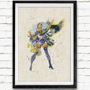 X-Men Storm Watercolor Print, Marvel Superhero Poster, Kids Room Wall Art, Home Decor, Not Framed, Buy 2 Get 1 Free!