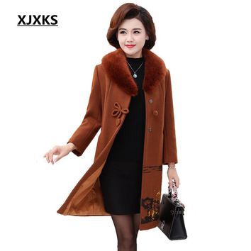 XJXKS 2018 Autumn Winter Women Woolen Coat Outerwear Female Mid Long Faux Fur Collar Jacket Women Plus Size Wool Coat D19